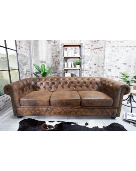 SOFA CHESTERFIELD 3-OS BRĄZOWA